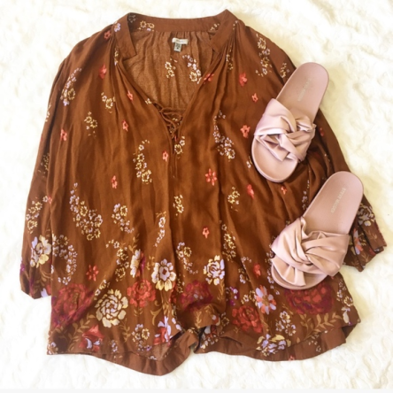 Buy UO Ecote Boho Brown Floral Lace-Up Tunic for  20 e103370f6